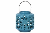 Beautifully Open Carved w/ Floral Design Ceramic Lantern in Turquoise