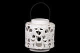 Beautifully Open Carved w/ Floral Design Ceramic Lantern in White