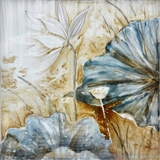 Beautifully Painted Blue Lotus Naturalistic Painting by Yosemite Home Decor