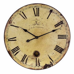 Beautifully Rustic Large Wall Clock with Pendulum by IMAX