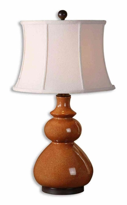 Belfast Red Table Lamp with Bronze Details in Chocolate Brand Uttermost