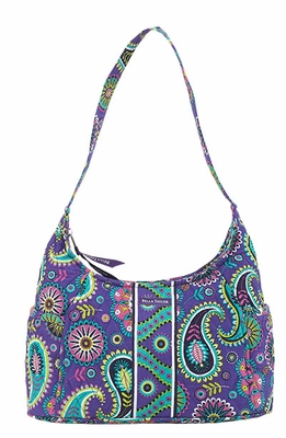 Bella Taylor Blue Printed Curved Hand Bag with Quilted Design Paisley Punch Brand Bella Taylor