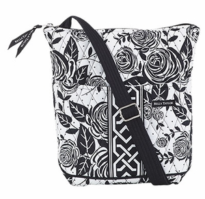 Bella Taylor Crossbody Bag with Machine Quilt and Rose Print Rose Pop Brand Bella Taylor