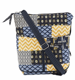 Bella Taylor Crossbody Bag with Quilted Pattern and Patch Work American Charm Brand Bella Taylor