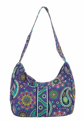 Bella Taylor Curved Paisley Printed Handbag with Quilted Design Paisley Punch Brand Bella Taylor