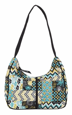 Bella Taylor Curved Pattern Hand Bag with Patch Work Design Lemon Julep Brand Bella Taylor