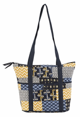 Bella Taylor Handbag with Double Shoulder Strap and Patch Work American Charm Brand Bella Taylor
