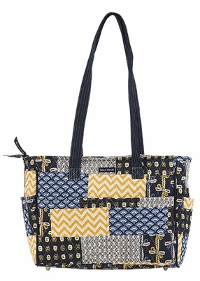 Bella Taylor Handbag with Patch Work Design and Metal Stud Feets American Charm Brand Bella Taylor