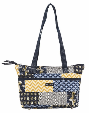 Bella Taylor Handbag with Quilted Pattern and Patch Work American Charm Brand Bella Taylor