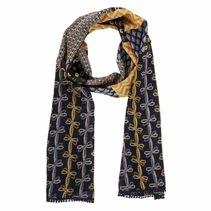 Bella Taylor Printed Design Cotton Scarf with Pom Pom Lace American Charm Brand Bella Taylor
