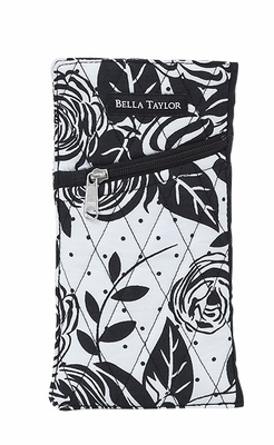 Bella Taylor Rose Printed Eye Glass Case with Slant Zipper Pocket Rose Pop Brand Bella Taylor