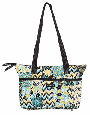 Bella Taylor Shoulder Bag with Black Straps and Patch Work Lemon Julep Brand Bella Taylor