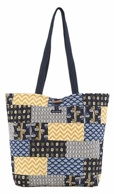 Bella Taylor Tote Bag with Patch Work Design and Toggle Closure American Charm Brand Bella Taylor