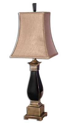 Benedict Black Glaze Table Lamp with Bronze Detailing Brand Uttermost