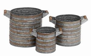 Bergamo Galvanized Planter Set Authentically Adorned Creation Brand Benzara