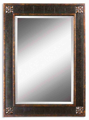 Bergamo Wall Mirror with Chestnut Brown and Mottled Finish Brand Uttermost