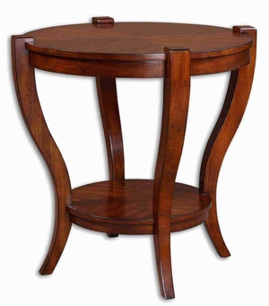 Bergman Round End Table with Solid Poplar and Cherry Veneer Brand Uttermost
