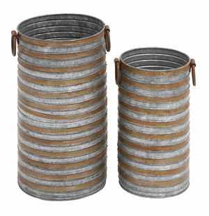 Berlin Galvanized Planter Set Antiqued Home D�cor Brand Benzara