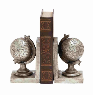 Berlin?s Silvery Shiny Polished Globe Bookend Brand Benzara