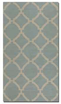 Bermuda Baby Blue 8' Golden Beige Wool Rug in Medium Cut Pile Brand Uttermost