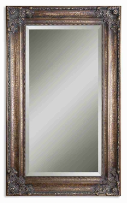Bertha Oversized Wall Mirror with Crackled Bronze Leaf Frame Brand Uttermost