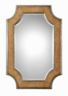 Besslen Wall Mirror with Walnut Stain Camphor Wood Veneer Brand Uttermost