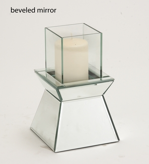 Beveled Mirror Attractive Wood Mirror Candle Holder by Woodland Import