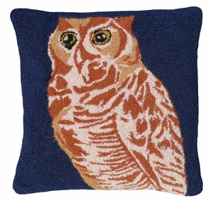 "Big, Bold and Stunning Owl hooked pillow 18x18"" by 123 Creations"