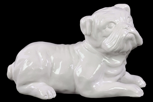 Big Cat like White Ceramic Dog