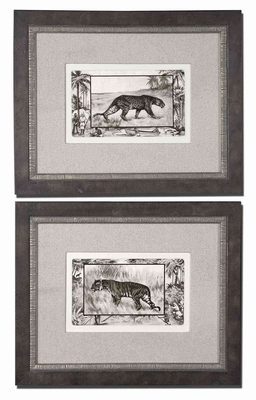 Big Cats Wall Decor with Brown and Black Wash Set of 2 Brand Uttermost
