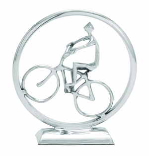 Biker In Round Circle Sculpture in Silver Aluminum Brand Woodland