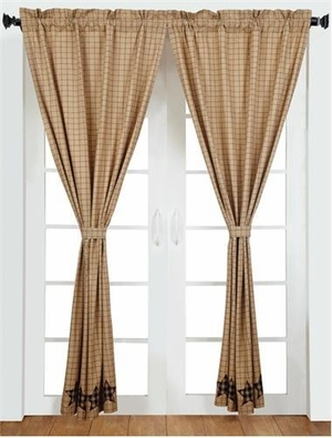 Bingham Star Antique Style 2 Panel Curtain Set With Cotton Liner Brand VHC