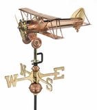 Biplane Garden Weathervane - Polished Copper w/Roof Mount by Good Directions