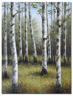 Birches In Spring Hand Painted Frameless Canvas Art Brand Uttermost