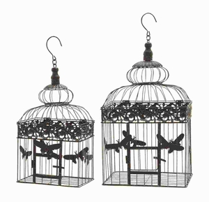 Bird Cage with Metal Butterflies & Artistic Curve (Set of 2) Brand Woodland