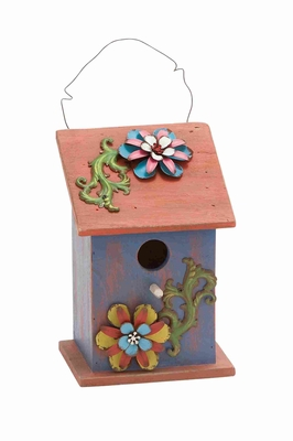 Bird House With Rich Design And Natural Texture In Purple And Red - 55310 by Benzara
