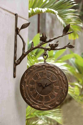 Bird On Branch Clock & Thermometer Conceptually Different Wall Decor Brand SPI-HOME