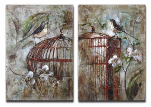 Birds In A Cage Frameless Canvas Art - Set of 2 Brand Uttermost