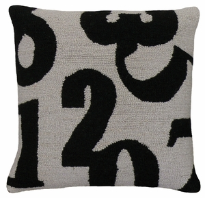 """Black and White Numbers Black Gray Hooked Pillow 16x16"""" by 123 Creations"""