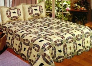 Black Bear Quilt Queen Size 90 Inch X 90 Inch Handmade Cotton Quilt by American Hometex