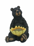 Black Bear Sitting with Sunflower Birdfeeder by Alpine Corp