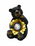 Black Bear with Solar Sunflower Garden Statue by Alpine Corp