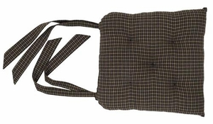 Black Check Chair Pad Brand VHC
