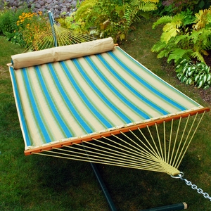 Black forest stripe pattern and Sand solid 13' Reversible Quilted Hammock with Matching Pillow by Alogma