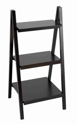 Black Leaning Ladder Dark Wall Bookcase  Book Display Brand Woodland