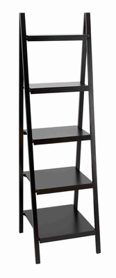 Black Leaning Ladder Dark Wall Bookcase Bookshelf Brand Woodland