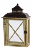 Black Metal Roof w/ Ethnic Traditional Design Wooden Lantern