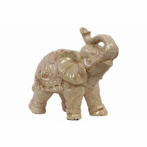 Ceramic Trumpeting Standing Elephant Figurine with Ceremonial Blanket Gloss Cream by Urban Trends