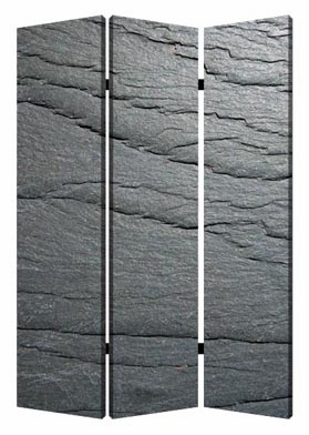 Black Slate 3 Panel Screen with Artistic Detailing on Canvas Brand Screen Gem