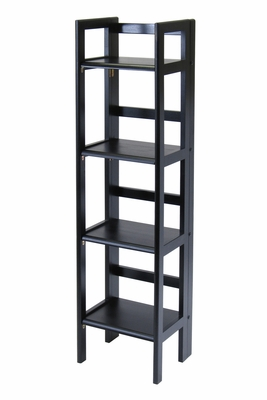 Winsome Wood Black Stylish Four Tier Folding Shelf